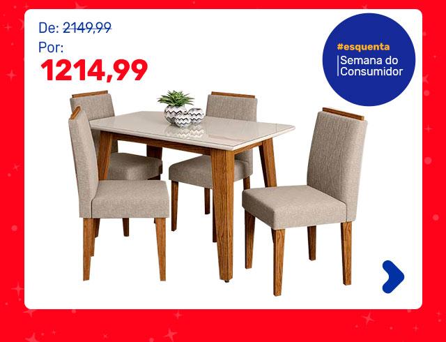 Conjunto de Mesa de Jantar com Tampo de Vidro Jade e 4 Cadeiras Ana Veludo Linho