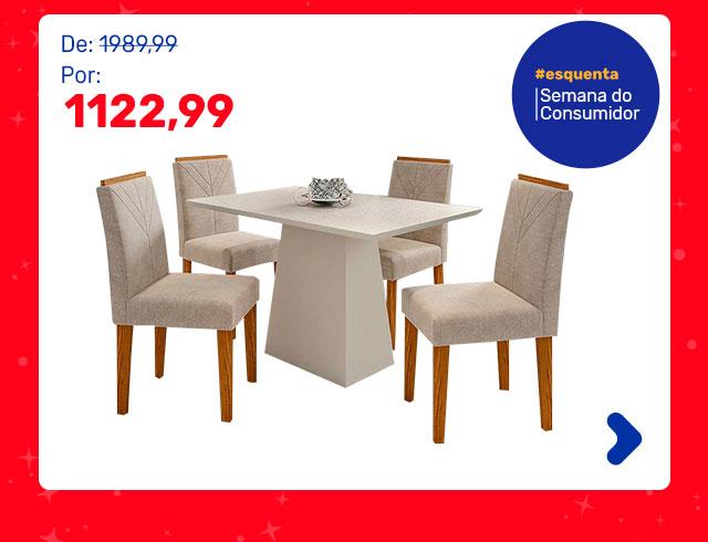 Conjunto de Mesa de Jantar com Tampo de Vidro Jasmin e 4 Cadeiras Giovana I Animalle